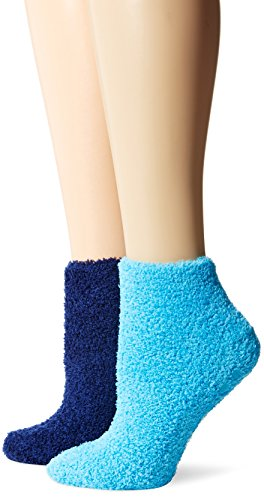 Dr. Scholl's Women's 2 Pack Soothing Spa Low Cut Lavender + Vitamin E Socks with Silicone Treads, Turquoise/Navy, Shoe Size: 4-10