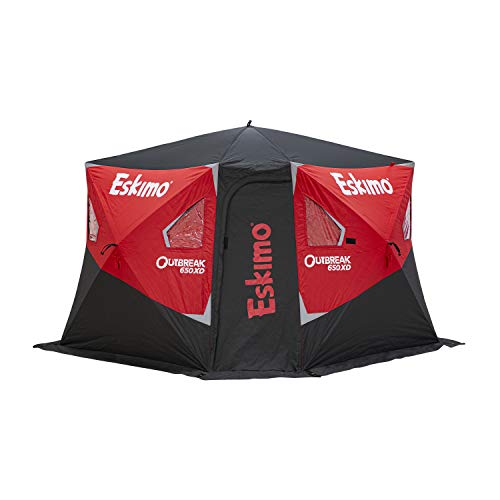 """Eskimo Outbreak 650XD Pop-up Portable Insulated Ice Fishing Shelter, 94 sq ft. Fishable Area, 5-7 Person, Red/Black, 143"""" x 135"""""""