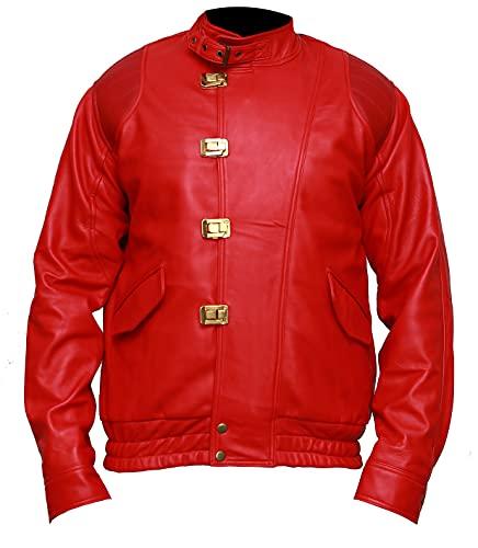 HiFaved Akira Manga Series Shotaro Kaneda Pill Capsule Rojo Bomber Biker Faux Leather Costume Cosplay Jacket, Rojo Cuero Sinttico, XXXXL