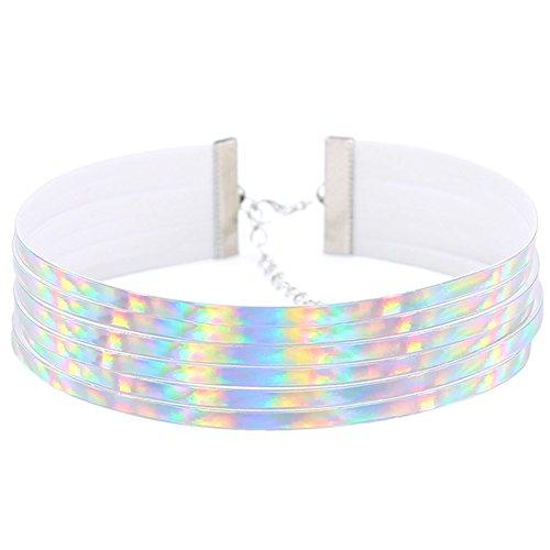 Damen Choker-Halskette, mehrreihig, holografisch, breit, weiß, Einheitsgröße