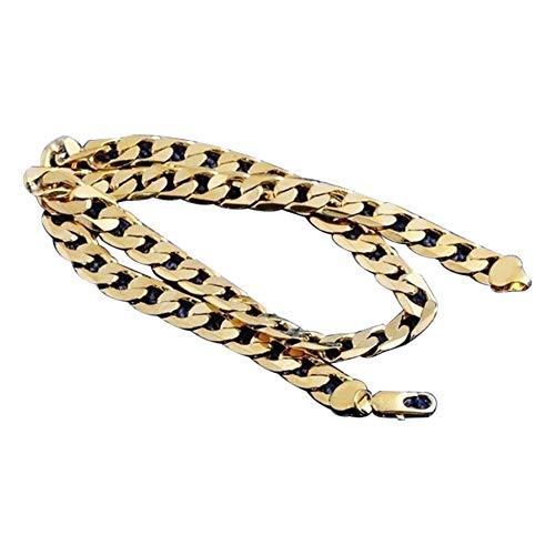 Collares para Hombres Mujeres Cadena Cubana eslabones 18k Dorado, Cadena Plana de Oro del Collar de Oro de Hip Hop para los Hombres Joyería de Oro para el Adorno de decoración de Cuello de Hombres