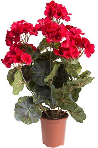 Flora-Seta künstliche Geranie (Geranienbusch) groß mit 9 Stielen im Kunststofftopf (rot)