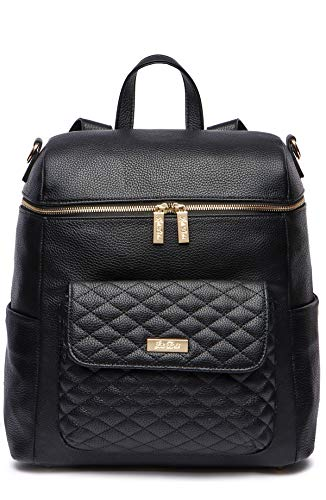 Luli Bebé Diaper Bag Backpack, Vegan Leather, with Changing Mat and Stroller Straps, Luxury and Stylish, Large Capacity (Ebony Black)