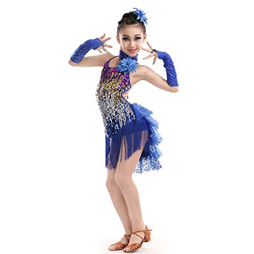 Mädchen Latin Kleid Tanzkleid für Kinder Franse Pailletten Latein Kostüm Salsa Tango Samba Rumba Ballroom Turnierkleid Dancewear