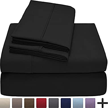Bare Home Premium 1800 Ultra-Soft Microfiber Collection Sheet Set - Double Brushed - Hypoallergenic - Wrinkle Resistant - Deep Pocket (Queen, Black)