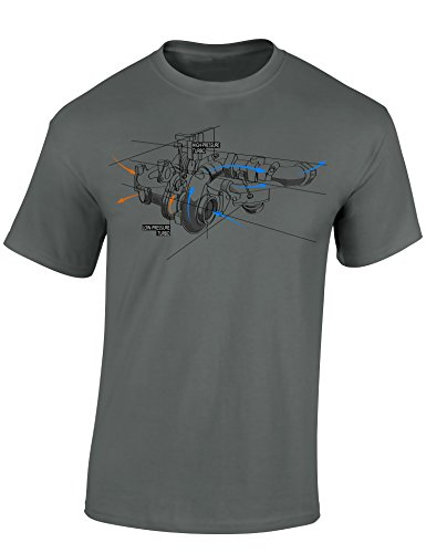 Petrolhead: Boceto del turbocompresor - Camiseta Motor - Regalo Hombre - T-Shirt Racing - Camisetas Coches - Tuning - Moto - Coche - Car - Cafe Racer - Biker - Rally - JDM - Unisex (S)