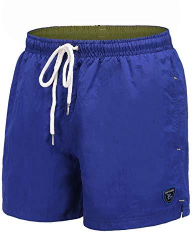 BUYKUD Men's Swim Trunks Beach Shorts Surfing Swimming Bathing Suit Blue