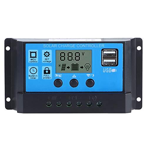 Kadimendium Regulador Inteligente, Pantalla LCD Panel Solar PWM Ajustable Regulador de Carga de batería Parámetro automático Regulador de Carga Solar para Interior