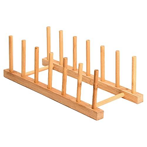 Blesiya Escurreplatos de madera, escurreplatos para utensilios de cocina, soporte para tapa de olla extraíble