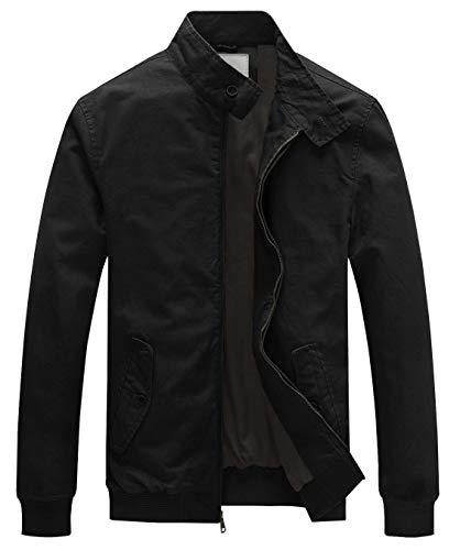 WenVen Men's Stand Collar Military Cotton Bomber Jacket (Black,Medium)