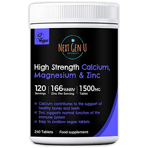 Calcium Magnesium and Zinc Supplement - 120 High Strength Vegan Osteo Tablets | Supports Healthy Nerve & Muscle Function | Vegetarian Friendly Calcium Supplement Complex