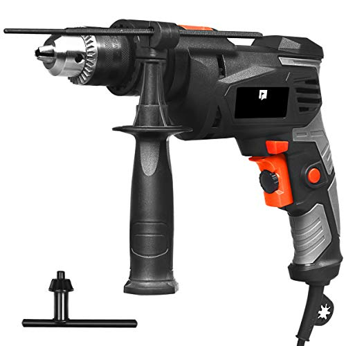Goplus Hammer Drill, 3000RPM 1/2 Inch Electric Corded Drill Dual Drill Mode, Variable Speed Trigger, 360° Reversible Handle, Speed Setting Knob for Drilling Wood, Metal, Masonry