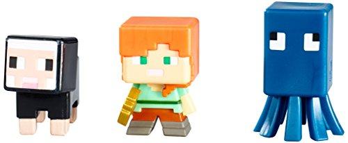 Minecraft série 3 Figurine Lot de 3 – Squid, Alex & Mouton Noir
