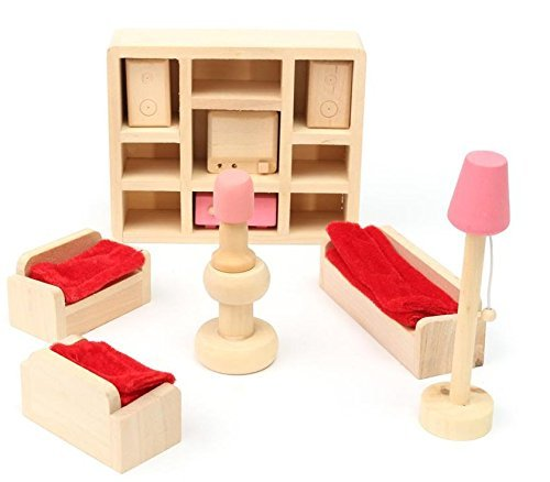 Glamorway Baby Kids Play Pretend Toy Design Wooden Doll Furniture Dollhouse Miniature Toy Children Gifts for Bedroom