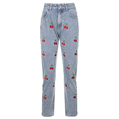 Pantalones Vaqueros para Mujer Otoño Europeo y Americano Nuevos Pantalones para Mujer Y2k Girl Line Reducción de la Edad Bordado de Cereza Pies pequeños Pantalones de Nueve Puntos 90s