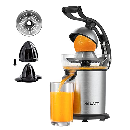 ASLATT Electric Citrus Juicer Squeezer, lemon orange juicer machine crush juice squeezer maker esprimidores de naranjas electrico Ultra Quiet Motor, Stainless Steel