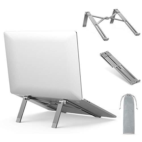 Aluminium faltbarer Laptop Ständer(kommt mit eine kostenlose Aufbewahrungstasche), Ergonomischer Notebook Ständer, Tragbarer Laptopständer kompatibel mit iPad, MacBook, Dell, HP usw, Space Grau