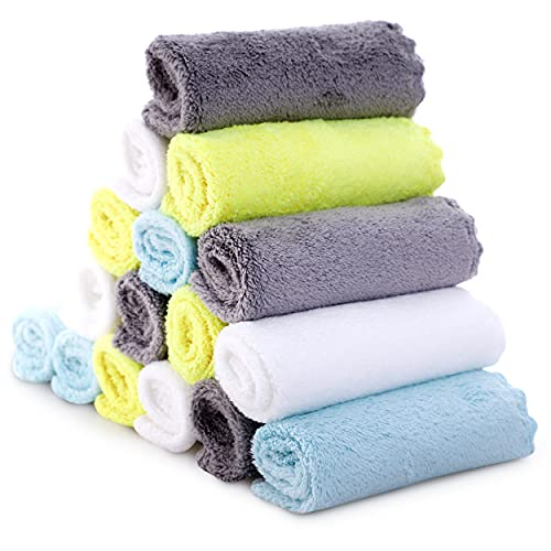 Ultra-Soft Baby Washcloths, 16 Pack - 9' by 9', Gentle on Sensitive Skin for Face and Body, Plush, Super Absorbent Wash Clothes for Girls and Boys