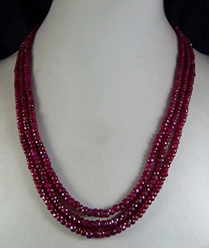 FidgetGear AAA Natural 2x4mm Natural Ruby Faceted Beads Necklace 3 Strand 17'-19'