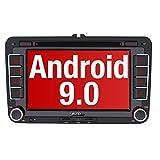PUMPKIN Android 9.0 Autoradio für VW Radio mit Navi Unterstützt Bluetooth aptX, DAB + CD DVD Android Auto WiFi 4G USB MicroSD 2 Din 7 Zoll Bildschirm