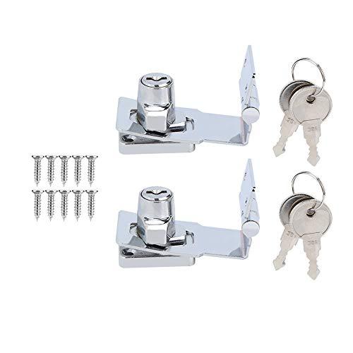Cerradura de gabinete - 2 piezas de 3'90 grados de rotación de la puerta del gabinete del cajón del archivo del gabinete cerrojo de las llaves para la seguridad