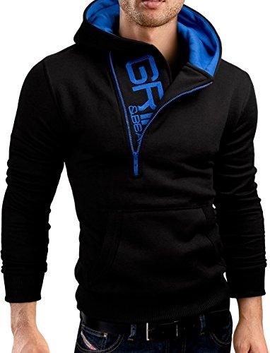 Grin&Bear Slim fit Halfzip Jacke Kapuze Hoodie Sweatshirt Kapuzenpullover, schwarz, L, GEC401