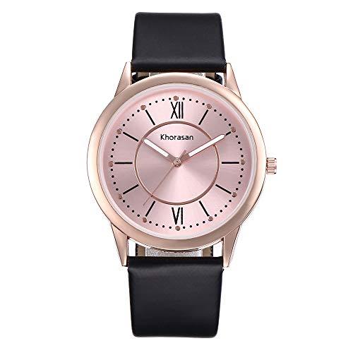 Luxisde Damen-Armbanduhr, modisch, luxuriös, Quarzuhrwerk, schlichtes Zifferblatt, legerer Ledergürtel, Damen, RoseGold, One Size