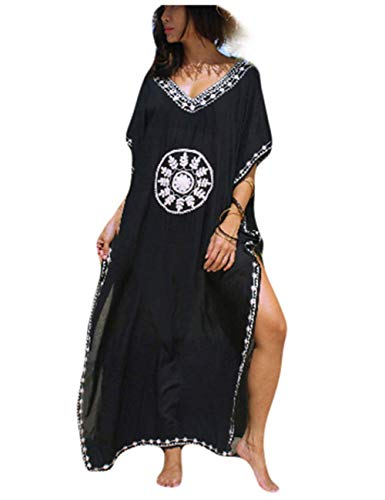 GRACIN Womens Plus Size Kaftan Swimsuit Cover Up Beach Long Caftan Maxi Dress Ethnic V Neck Nightdress (Black)