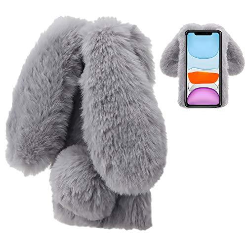 LCHDA Plüsch Hülle für Samsung Galaxy S20 FE Flauschige Hasen Fell Künstliche Kaninchen Pelz Niedlich Hasenohren Mädchen Süße Handytasche Stoßfest Schützend TPU Silikonhülle - Grau