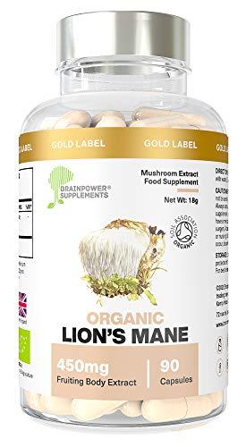 Organic Lion's Mane Mushroom 450mg | 90 Capsules | Whole Fruiting Body 12:1 | 50% Polysaccharides, 30% Beta Glucans & Hericenones| No Inorganic Fillers | GF + Vegan