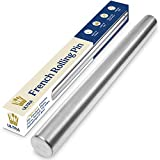 Dishwasher-Safe Professional Tapered French Rolling Pin for Baking - 15.75' Smooth Stainless Steel...