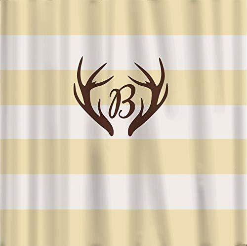 565pir Duschvorhang Hirschgeweih, einfache horizontale Streifen, naturfarben & beige, Schokoladenfarben