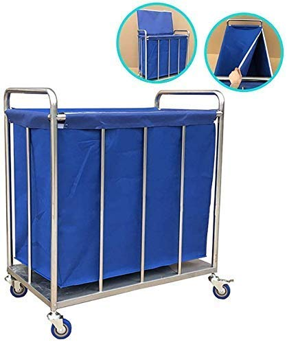 Dljyy Cart, Medical Cart, Speisewagen, Recoger, Medical Wagen Heavy Duty Ronde commerciële wasmand met deksel, blauw wasgoed, assortiment linnen wagen, met afneembare tas en wielen, blauw, 80 × 50 × 88 cm