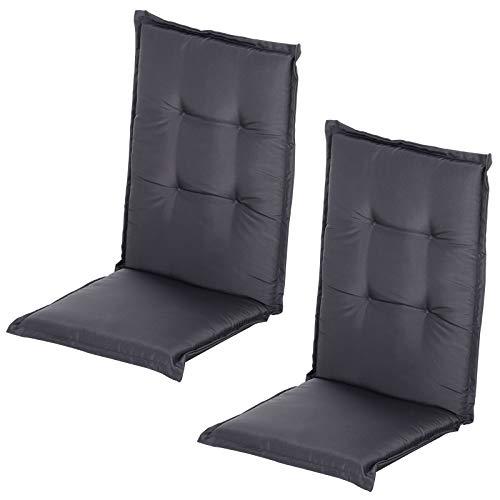Outsunny Stuhlauflage, Auflage für Gartenstuhl, Sitzkissen mit Rückenlehne, Hochlehner, Polster, Polyester, 2 Stücke, Grau 120 x 50 x 6 cm