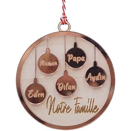 IDcaseFR Boule de Noël Famille Personnalisable, Prénom ou Texte au Choix - en Bois et Miroir