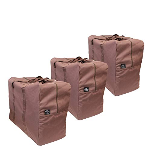3 Pack - Big Handy Storage Bag & Home Organization Bag - Cocoa Brown - Large and Reusable - Stylish Storage and Laundry