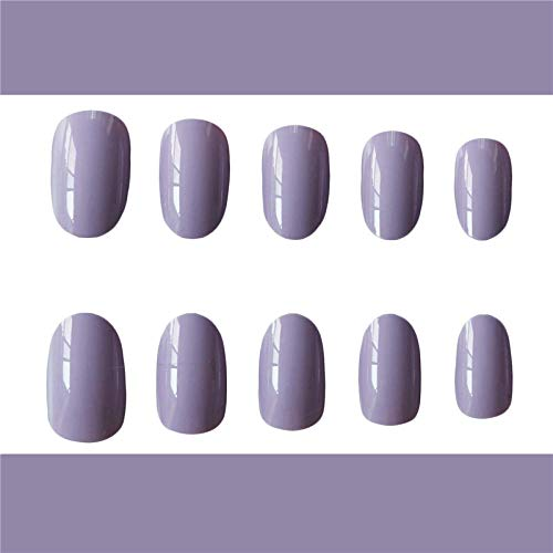 CLOAAE Beautiful cream purple pure color false nails 24pcs Round cute fake nails bride full nail tips middle-long size
