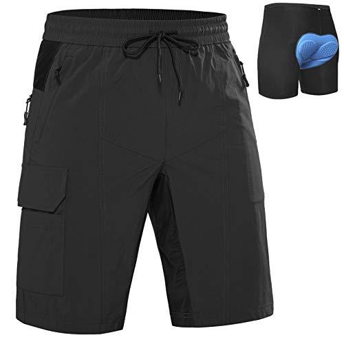 Cycorld MTB Hose Herren Radhose, Mountainbike Hose Schnelltrocknend Fahrradhose, Outdoor Sport Herren Radlerhose Elastische MTB Bike Shorts (Schwarz mit Unterwäsche, XL)