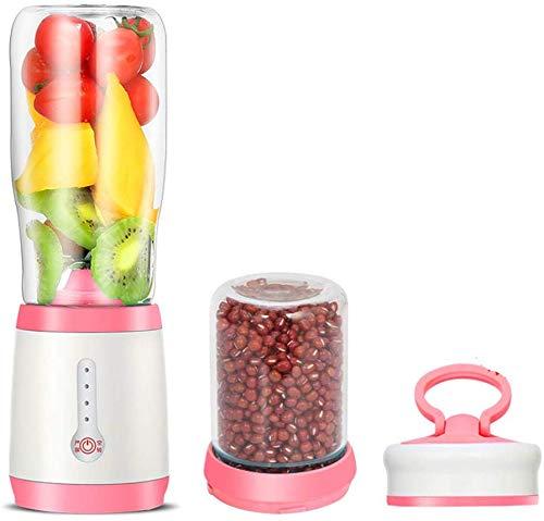 GPWDSN Tragbare Mini-Mixer, Multi-Funktions-Smoothie Maschine, Borosilicatglas Automatische Blender Obst Gemüse 2 Verschiedenen Cups Leicht Zu Bedienen Grün