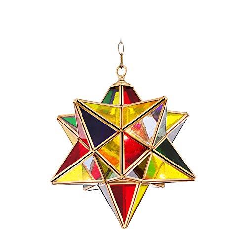 Pentagrama Lámpara Pendiente,Chandelier Candelabro Colgante,Cristal Bola Colgante de Fijación Lámpara de Techo-A 36x36cm