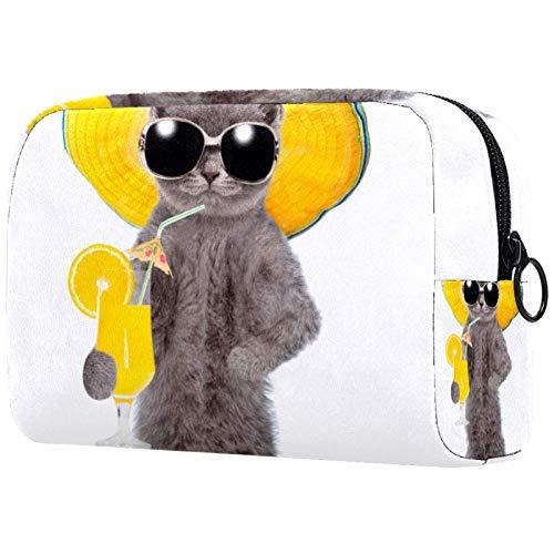 Maquillaje Cosmético Bolso Monedero para Mujer, Moderno y Espacioso Bolso de Mano Gato Divertido con Gafas de Sol con cóctel