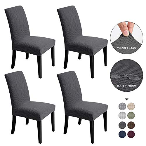 Chair Covers for Dining Room - Stretch Chair Slipcovers for Decorative Seat Protector Waterproof Armless Removable Washable Elastic Dinner Universal...
