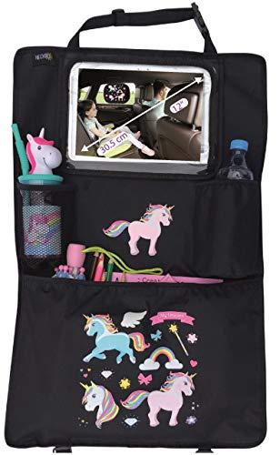 HECKBO® Auto Rücksitz Organizer mit verstellbarer Tablet Tasche für Tablets bis zu 20 Zoll mit Touch Folie – mit Einhorn Druck - 70 x 45cm - universal passend – inkl. Thermotasche + Stretch-Netztasche