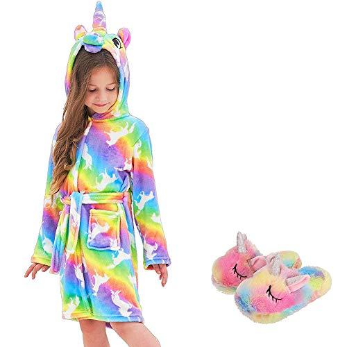Bambini Kids Gentle Unicorn Accappatoio con Cappuccio e Scarpe Unicorno Accappatoio con Cappuccio Indumenti da Notte Unicorno Regali per Ragazze (Rainbow Unicorn, 8-9 T)