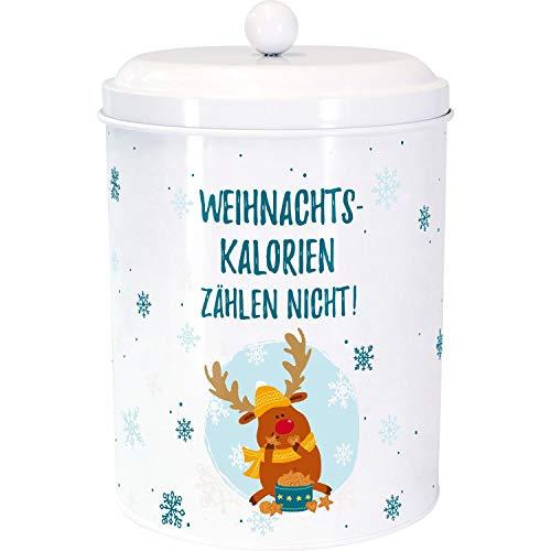 Die Geschenkewelt 49782 Plätzchendose Gruss und Co mit Weihnachts-Elch und Spruch Kalorien, Weiß