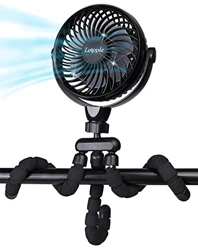 Mini Ventilador Sobremesa con Trípode Flexible 5200 mAh -Ventilador Cochecito Portátil Ventilador Silencioso Mano USB con 4 Velocidades,360 °Ratación -Ventilador Pequeño para Cama, Oficina, Escritorio