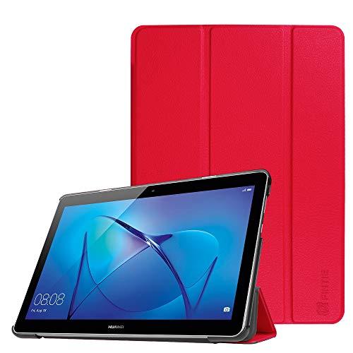 Fintie Hülle Hülle für Huawei Mediapad T3 10 - Ultra Dünn Superleicht Flip Schutzhülle mit Zwei Einstellbarem Standfunktion für Huawei MediaPad T3 (9,6 Zoll) 24,3 cm Tablet-PC, Rot