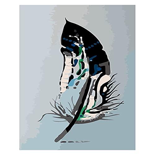 Pintura de Bricolaje por números para Adultos Principiante -Paint por números para niños de 8 a 12 años - Regalos del día de los pañales -a Pluma Colorida (Size : 60x75cm)