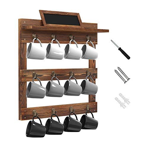 Greenstell Coffee Mug Holder with Chalkboard Wall Mounted Rustic Wood Cup Organizer Rack for Home Kitchen Display Storage and Collection Brown