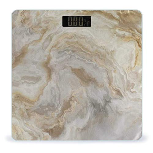 OcuteO Scales for Body Weight Gold and Gray Marble Stone Texture Wavy Bathroom Weight Scale Smart Digital Weighing Bath Room Scales for Women Men Kids Easy Read LCD Display Ultra Slim Large